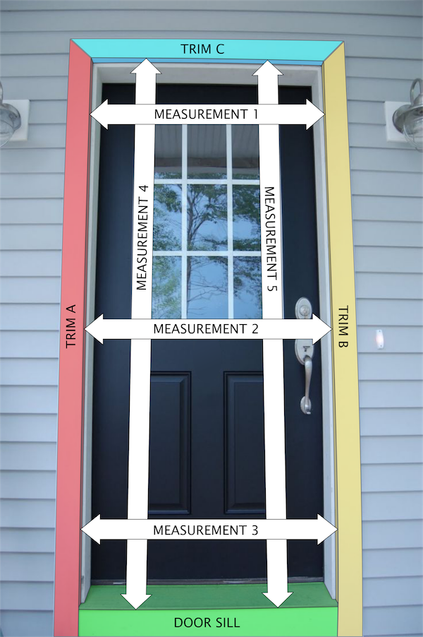 This Diagram Shows Where You Will Be Taking Measurements From Your Door  Frame. The Width Will Be Measured In Three Places   Middle, Top, And Bottom  Of Your ...